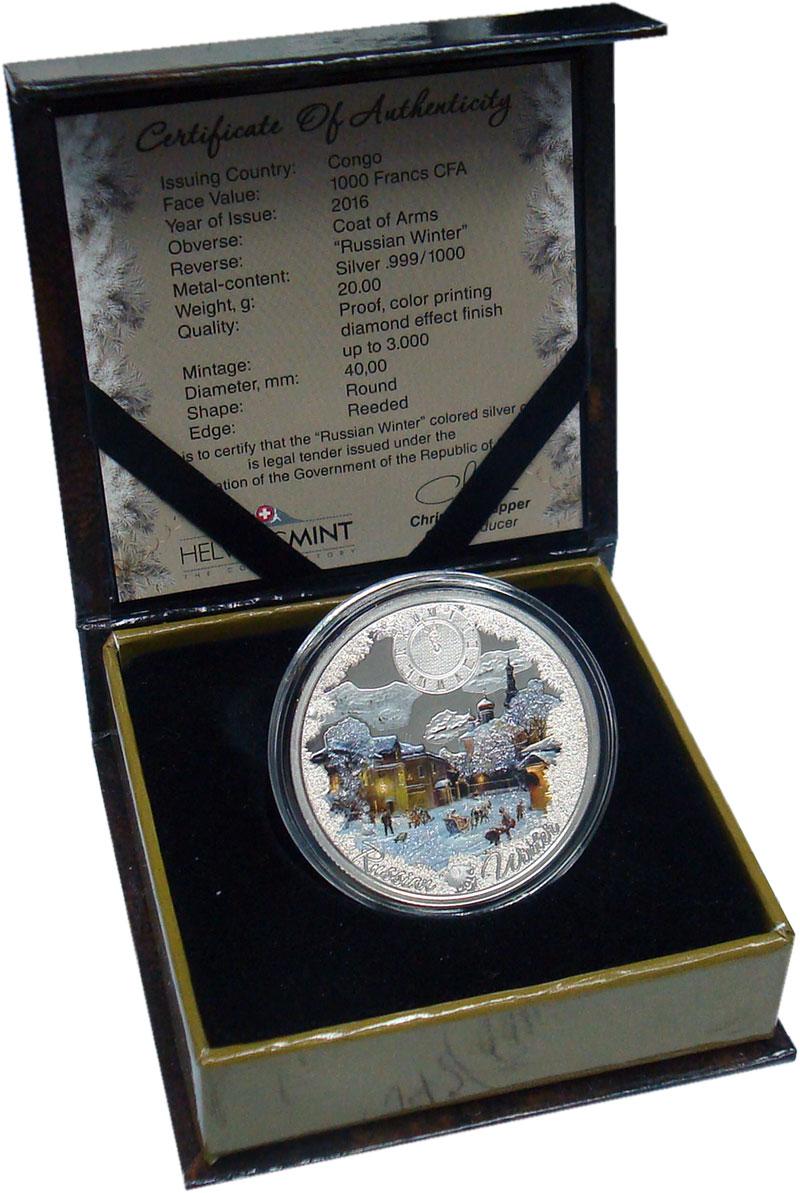 Изображение Подарочные монеты Конго 1.000 франков 2016 Серебро Proof Русская зима. Серебр
