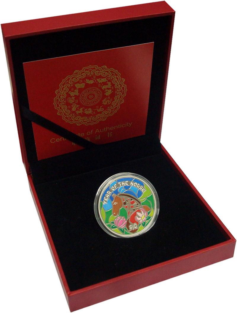 Изображение Подарочные монеты Фиджи 10 долларов 2014 Серебро Proof Год лошади. Серебро
