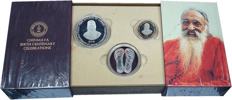 Изображение Подарочные монеты Индия Свами Чинмаянанда 2015  Proof 100 лет со дня рожде