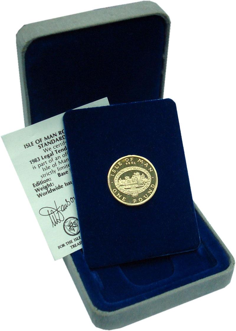 Изображение Подарочные монеты Остров Мэн 1 фунт 1983 Латунь Proof Крепость Пил. Оригин