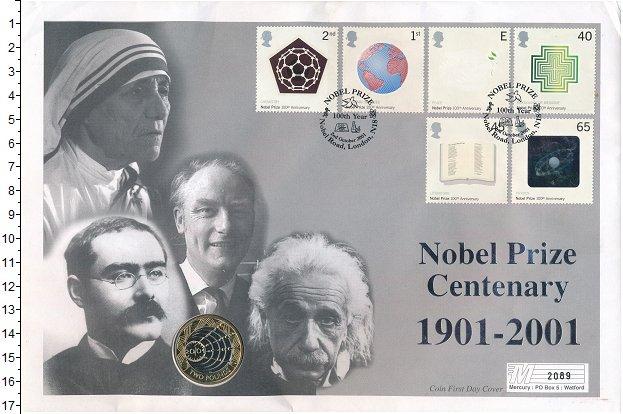 Изображение Подарочные монеты Великобритания 2 фунта 2001 Биметалл UNC Елизавета II.  100