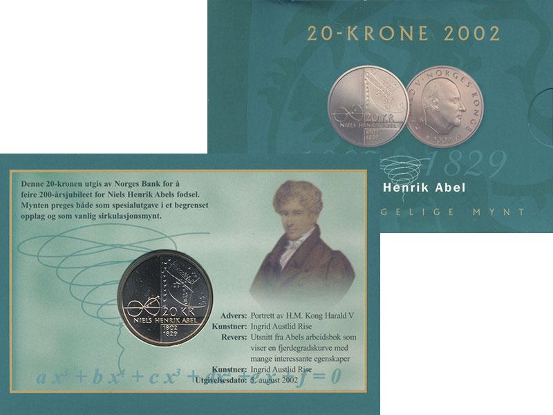 Изображение Подарочные монеты Норвегия 20 крон 2002 Латунь BUNC 200 лет со дня рожде