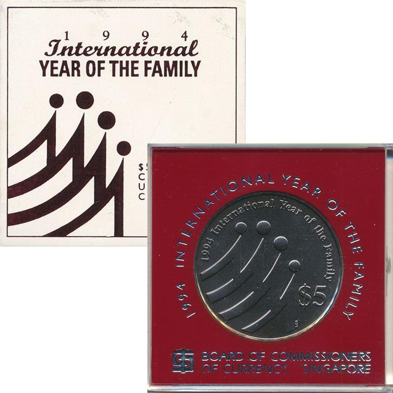 Изображение Подарочные монеты Сингапур 5 долларов 1994 Медно-никель UNC Международный год се
