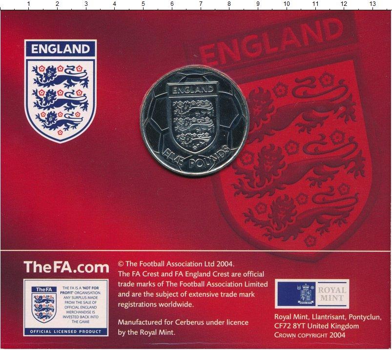 Изображение Подарочные монеты Олдерни 5 фунтов 2004 Медно-никель UNC Сборная Англии по фу
