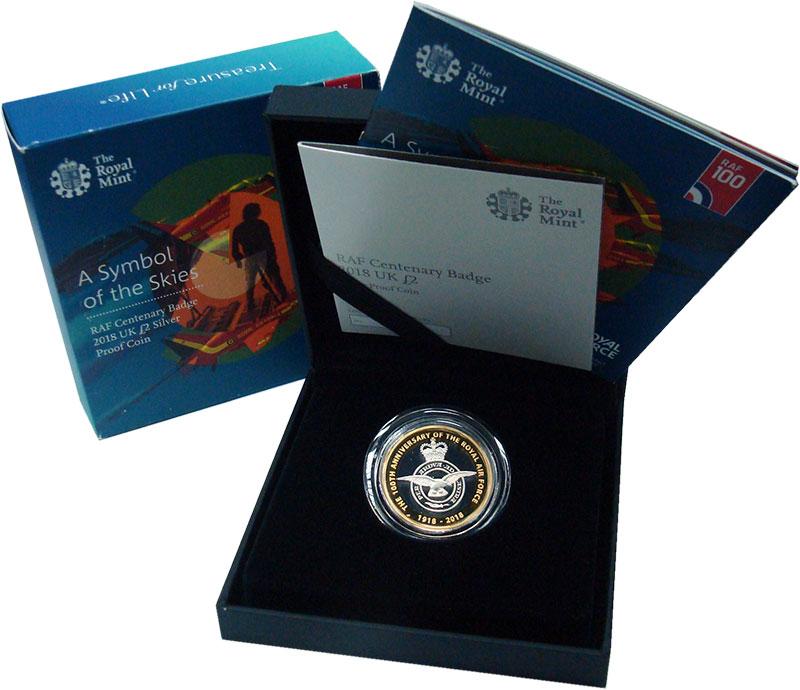Изображение Подарочные монеты Великобритания 2 фунта 2018 Серебро Proof 100 лет Королевским
