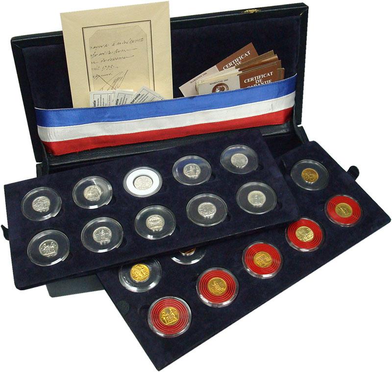 Изображение Подарочные монеты Франция 200 лет Великой французской революции 1989  UNC `Набор жетонов ``200