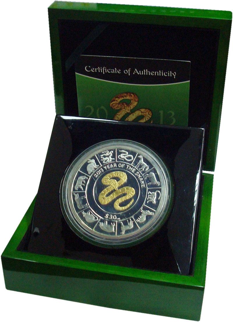 Изображение Подарочные монеты Виргинские острова 30 долларов 2013 Серебро Proof- Год змеи. Серебро 99