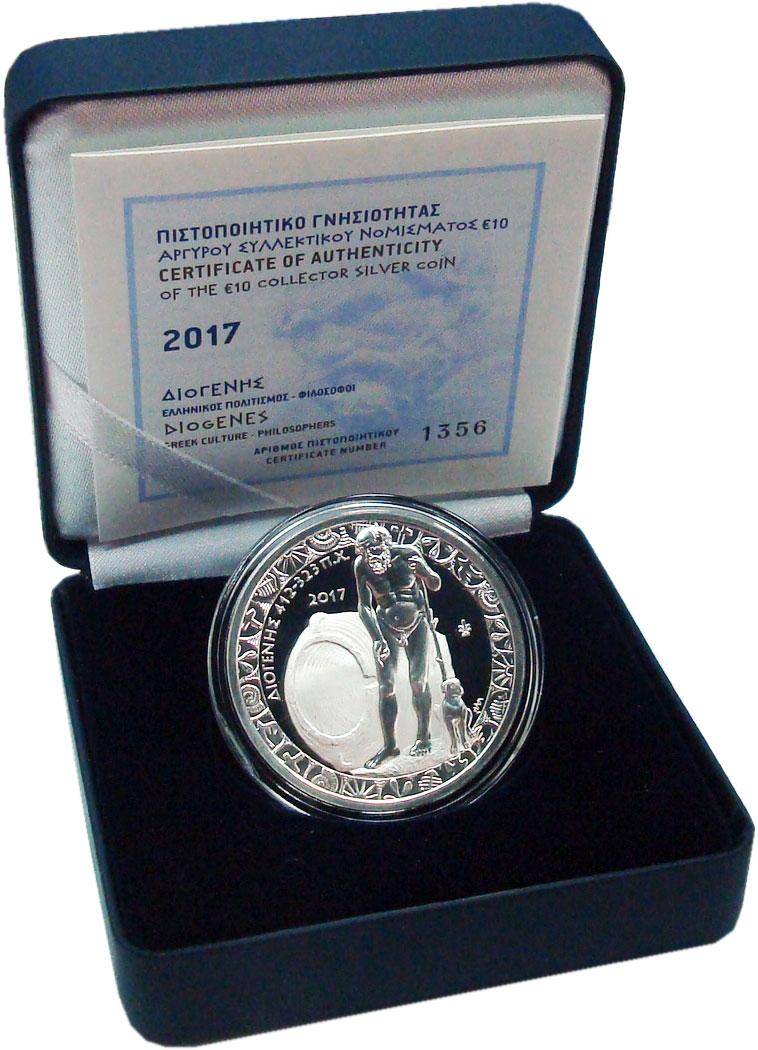 Изображение Подарочные монеты Греция 10 евро 2017 Серебро Proof Греческая культура -