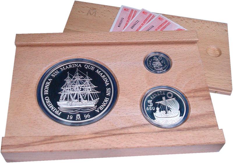 Изображение Подарочные монеты Испания Парусники 1996 Серебро Proof В набор входят три м
