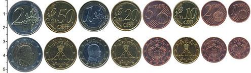 Изображение Наборы монет Монако 2 евро 2014 Биметалл UNC В наборе 8 монет ном