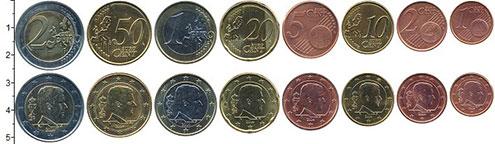Изображение Наборы монет Бельгия 1 фунт 2014 Биметалл XF В наборе 8 монет ном