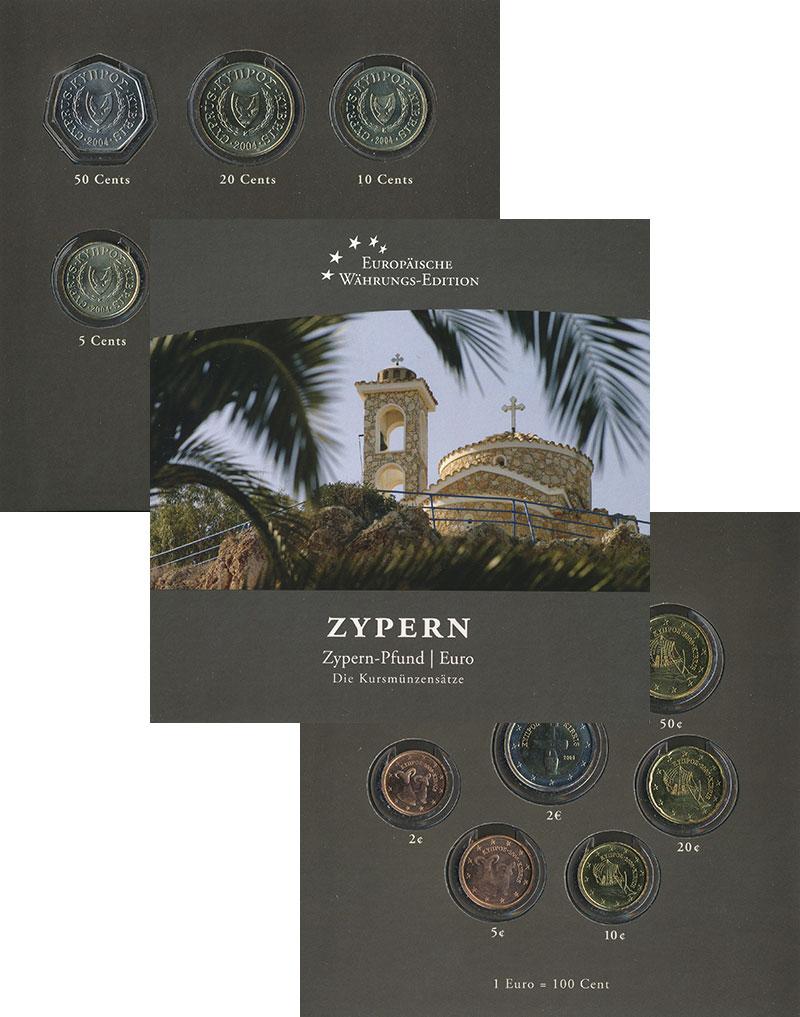 Изображение Подарочные монеты Кипр Переход на евро 2008  UNC В набор входят после