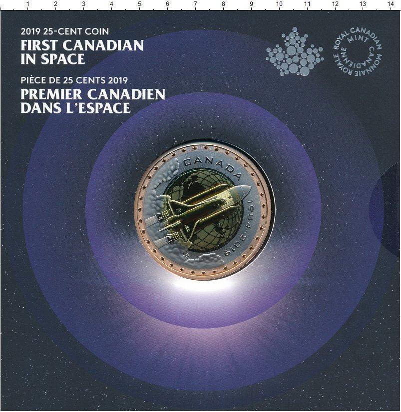 Изображение Подарочные монеты Канада 25 центов 2019 Триметалл UNC 35 лет полета в косм