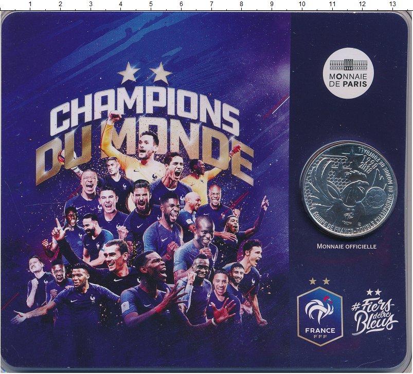 Изображение Подарочные монеты Франция 10 евро 2018 Серебро UNC Франция - чемпионы м
