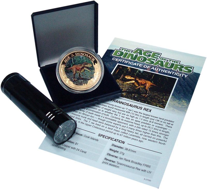 Изображение Подарочные монеты Острова Кука 1 доллар 2014 Медь Proof Эра динозавров. Медь