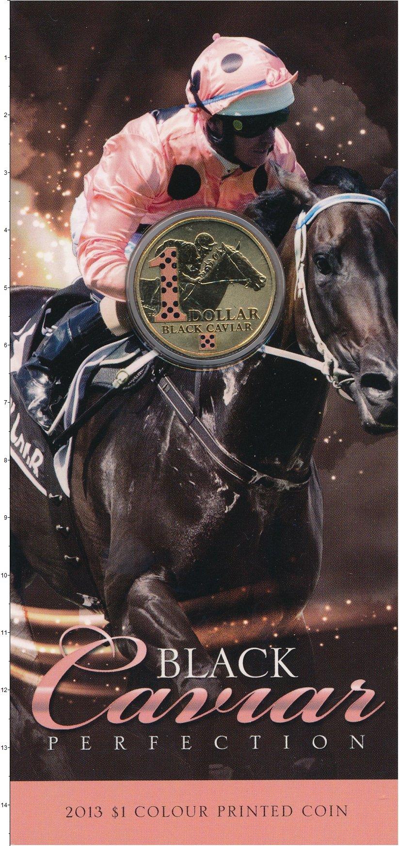 Изображение Подарочные монеты Австралия 1 доллар 2013 Латунь UNC Скачки. Блэк Кэвиар