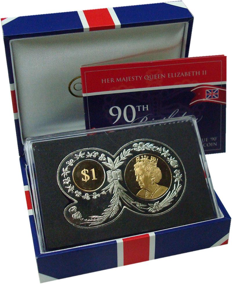 Изображение Подарочные монеты Виргинские острова 1 доллар 2016 Биметалл UNC 90 лет Королеве Елиз
