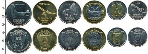 Изображение Наборы монет Антарктика - Французские территории Набор 2011 г. 2011 Биметалл UNC- В наборе 6 монет ном