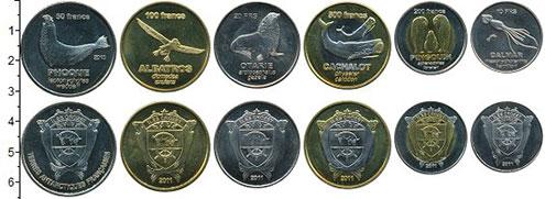 Изображение Наборы монет Антарктика - Французские территории Набор 2011 г. 2011 Биметалл  В наборе 6 монет ном