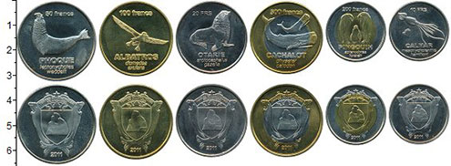Изображение Наборы монет Антарктика - Французские территории Набор 2011 г. 2011 Биметалл UNC В наборе 6 монет ном