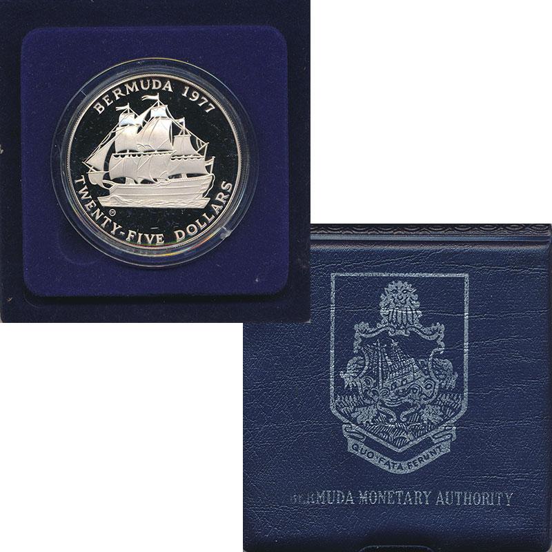 Изображение Подарочные монеты Бермудские острова 25 долларов 1977 Серебро Proof- Монета Бемудские ост