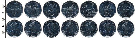 Изображение Наборы монет Остров Мэн 75 лет Окончания Второй мировой войны 2020 Медно-никель BUNC Набор из семи монет