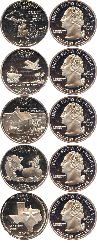 Картинка Подарочные наборы США Серебряные четвертаки 2004 года Серебро 2004