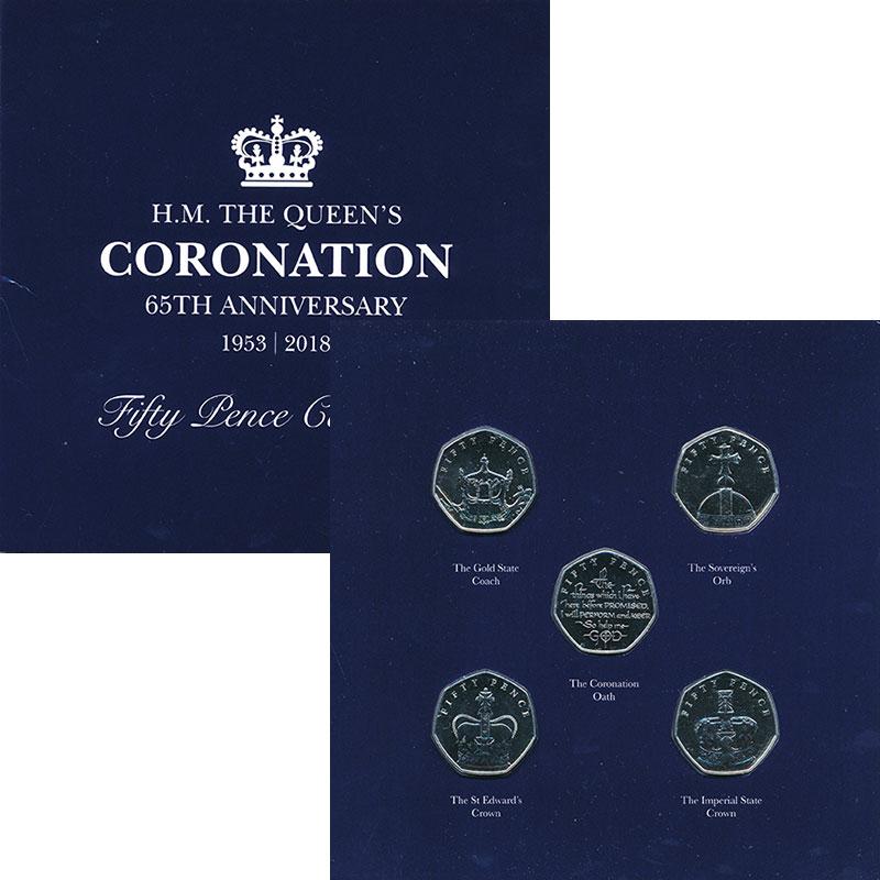 Изображение Подарочные монеты Остров Мэн 65 лет Коронации Елизаветы II 2018 Медно-никель BUNC В набор входят пять