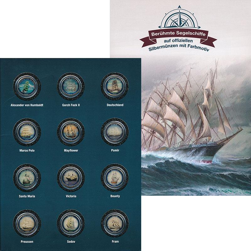 Изображение Подарочные монеты Острова Кука Великие парусники 2015 Серебро UNC `В набор ``Великие п