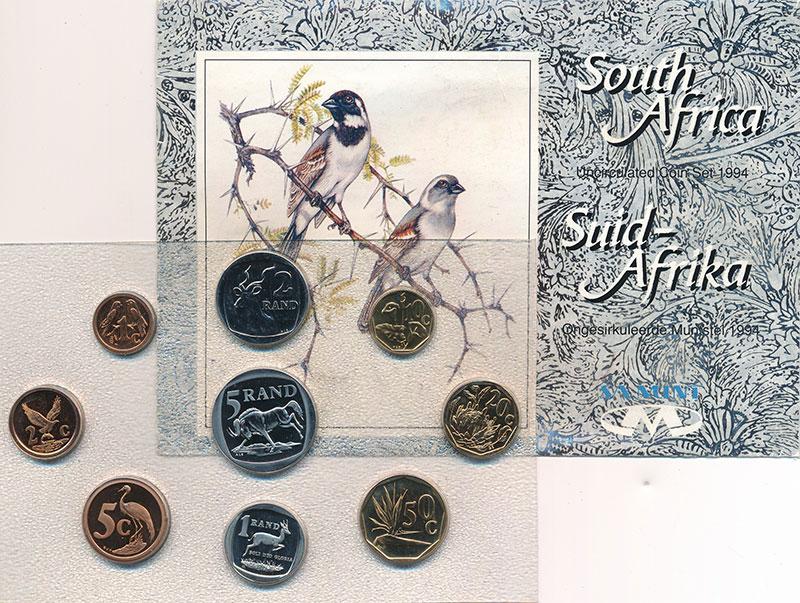 Изображение Подарочные монеты ЮАР Набор 1994 года 1994  UNC- В набор входят девят