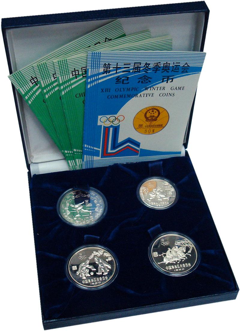 Изображение Подарочные монеты Китай Олимпийская сборная Китая 1980 Серебро Proof Набор из четырех мон