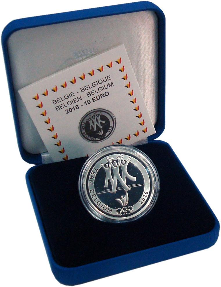 Изображение Подарочные монеты Бельгия 10 евро 2016 Серебро Proof Олимпийская сборная