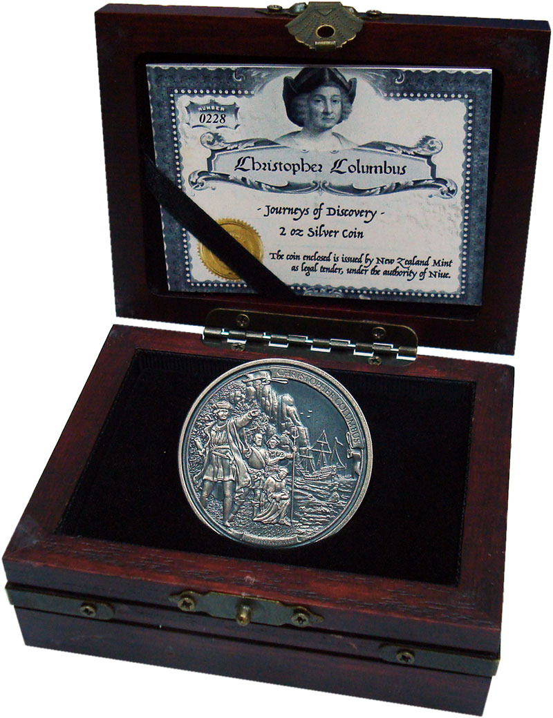 Изображение Подарочные монеты Ниуэ 5 долларов 2015 Серебро UNC Христофор Колумб. Се