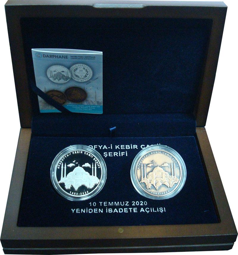 Изображение Подарочные монеты Турция 20 лир 2020 Серебро Proof Набор монет Турции 2