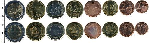 Изображение Наборы монет Кипр Евронабор 2008 года выпуска 2008  UNC- В наборе 8 монет ном