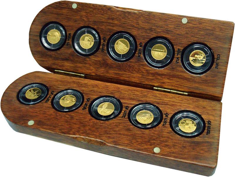 Изображение Подарочные монеты Израиль Десять заповедей 0 Золото Proof `Набор ``Десять запо