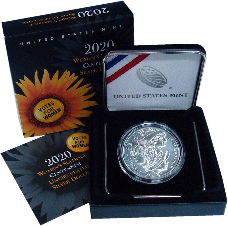 Изображение Подарочные монеты США 1 доллар 2020 Серебро UNC 100 лет женского изб