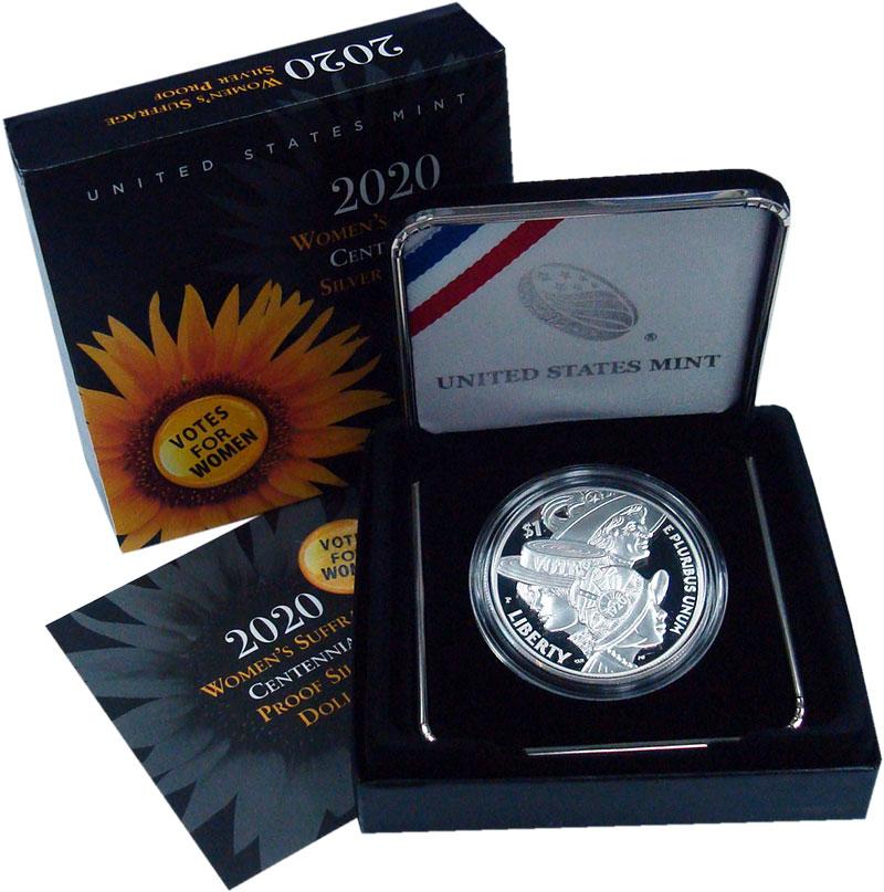 Изображение Подарочные монеты США 1 доллар 2020 Серебро Proof 100 лет женского изб
