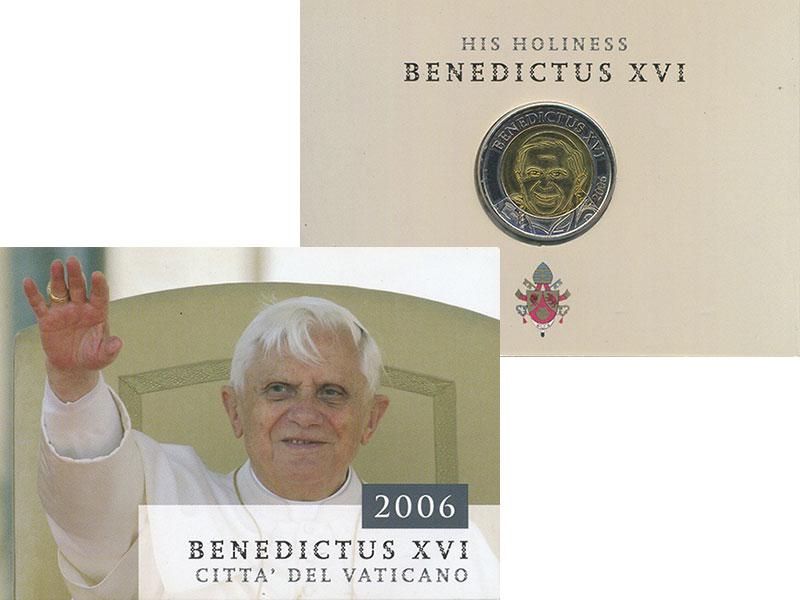 Изображение Подарочные монеты Ватикан 2 евро 2006 Биметалл UNC Проба. Бенедикт XVI.