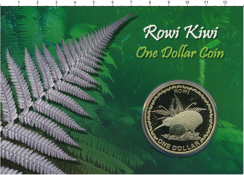 Изображение Подарочные монеты Новая Зеландия 1 доллар 2005 Латунь BUNC Киви. Тираж 3000 шт.