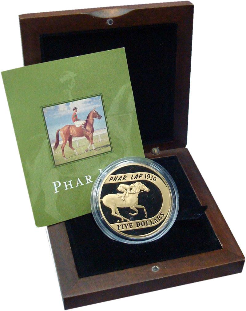 Изображение Подарочные монеты Австралия 1 доллар 2000 Латунь Proof Фар Лэп - чемпион ср