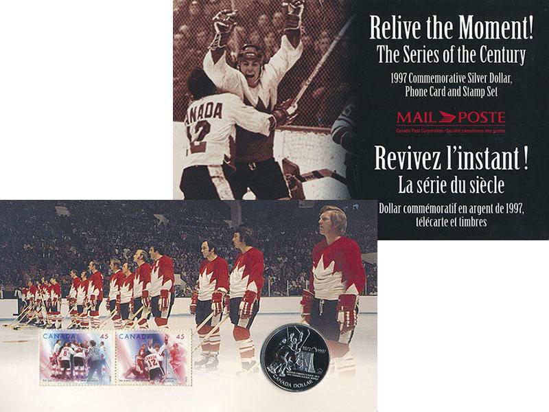 Изображение Подарочные монеты Канада 1 доллар 1997 Серебро UNC 25 лет хоккейной сер