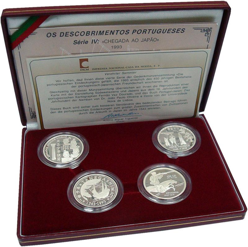 Изображение Подарочные монеты Португалия Открытия 1993 Серебро Proof Набор из четырех мон