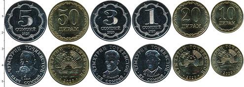 Изображение Наборы монет Таджикистан Набор 2020 года 2020  UNC В наборе 6 монет ном