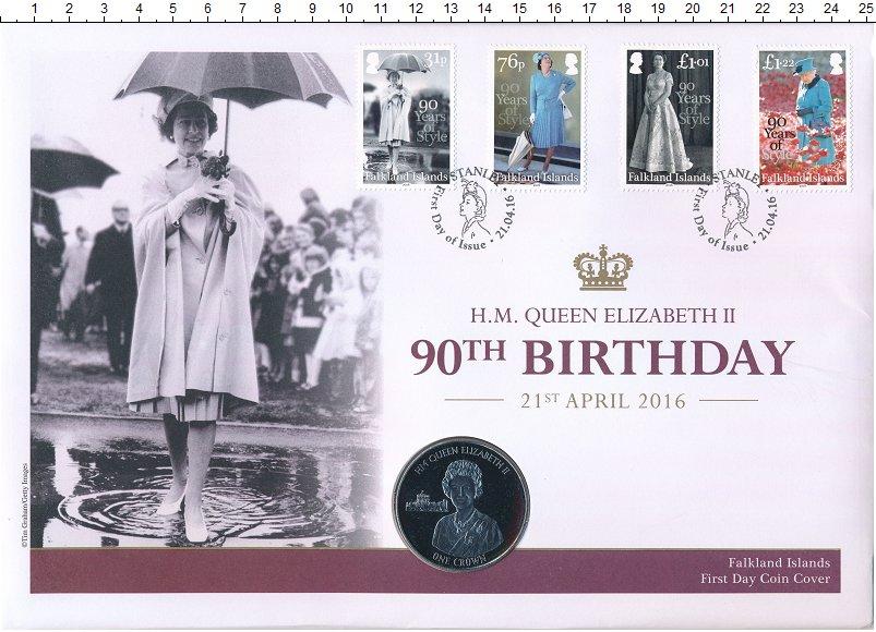 Изображение Подарочные монеты Фолклендские острова 1 крона 2016 Медно-никель UNC 90 лет королеве Елиз