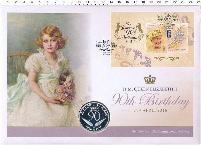 Изображение Подарочные монеты Австралия Медаль 2016 Медно-никель Proof 90 лет королеве Елиз