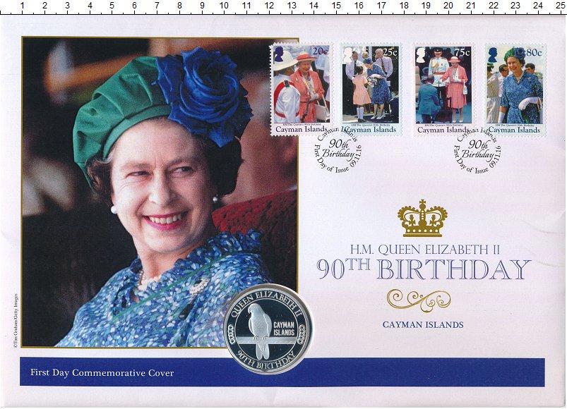 Изображение Подарочные монеты Каймановы острова Медаль 2016 Медно-никель Proof 90 лет королеве Елиз