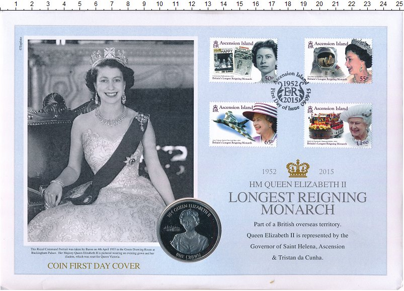 Изображение Подарочные монеты Остров Вознесения 1 крона 2015 Медно-никель UNC Елизавета II - самая