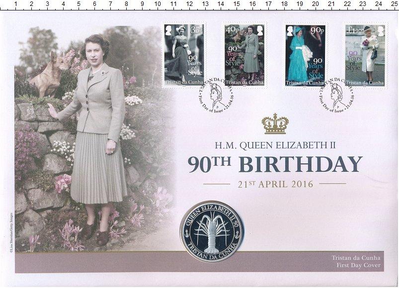 Изображение Подарочные монеты Тристан-да-Кунья Медаль 2016 Медно-никель Proof 90 лет королеве Елиз