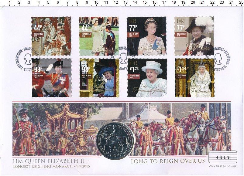 Изображение Подарочные монеты Остров Мэн 1 крона 2015 Медно-никель UNC Елизавета II - самая